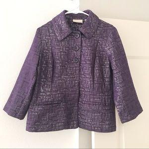 CHICOS Blazer Jacket Metallic Purple Silver SZ 1